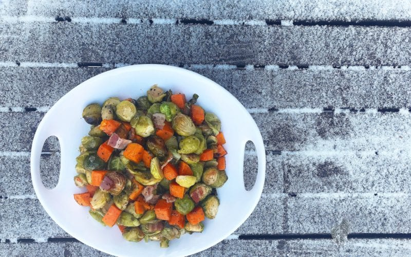 Honey Roasted Sweet Potatoes & Brussel Sprouts with Bacon